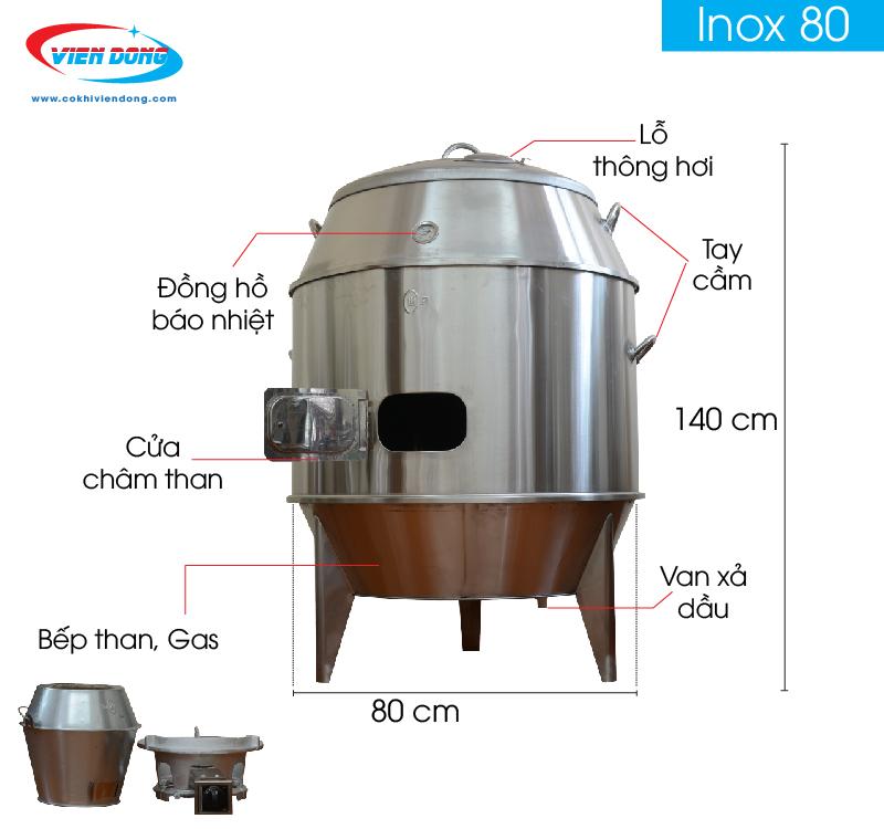 lò quay vịt inox dùng than và gas