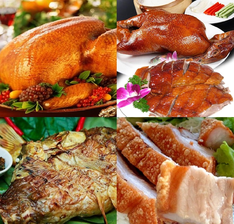 Các món ăn từ lò quay vịt bằng than gas