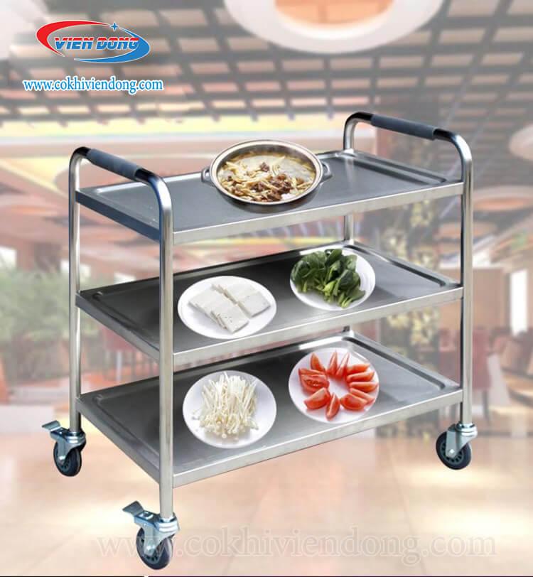 Xe đẩy thức ăn Inox 3 tầng